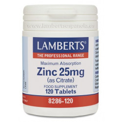Zinc 25mg (citrato) 120 tabletas. Lamberts